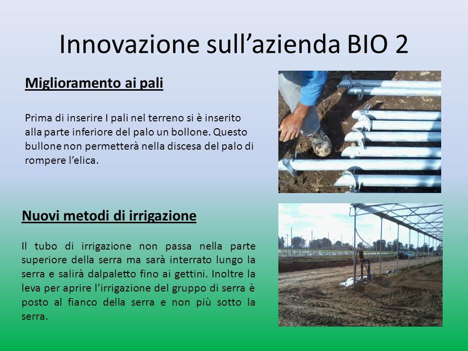 Innovazione sullazienda BIO 2 Nuovi metodi di irrigazione Il tubo di irrigazione non passa nella parte superiore della serra ma sarà interrato lungo la serra e salirà dalpaletto fino ai gettini.