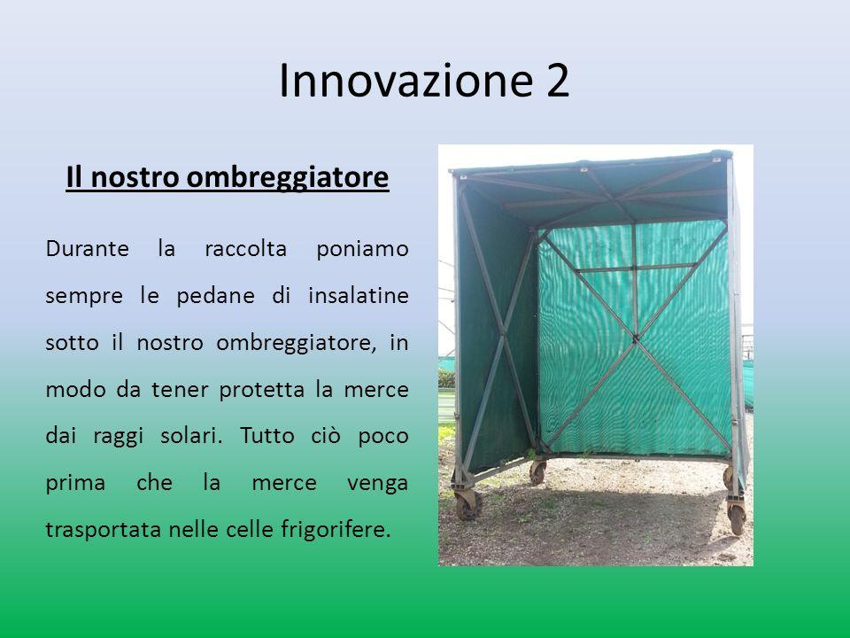 Innovazione 2 Il nostro ombreggiatore Durante la raccolta poniamo sempre le pedane di insalatine sotto il nostro ombreggiatore, in modo da tener protetta la merce dai raggi solari.