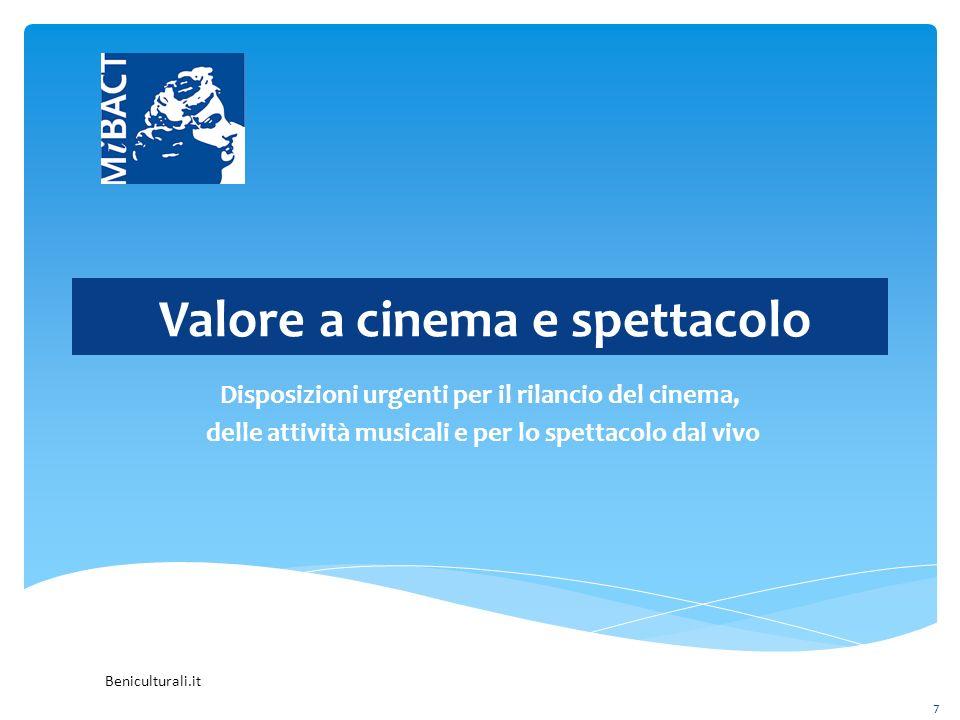 Beniculturali.it Valore a cinema e spettacolo Disposizioni urgenti per il rilancio del cinema, delle attività musicali e per lo spettacolo dal vivo 7