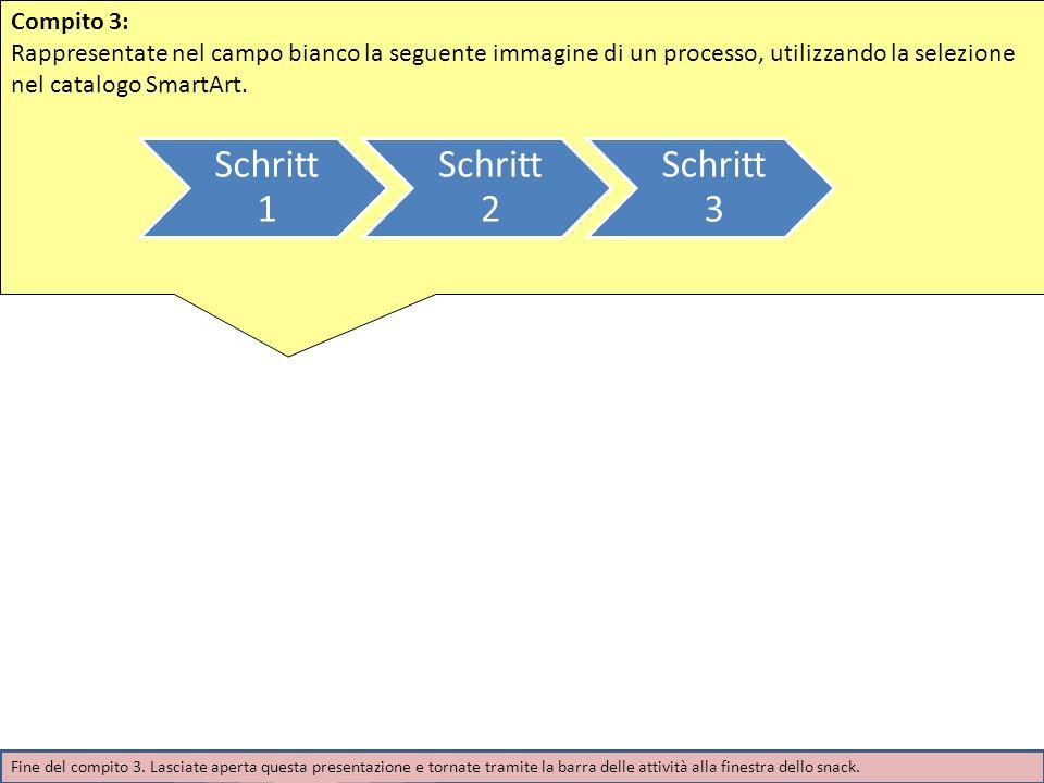 Compito 3: Rappresentate nel campo bianco la seguente immagine di un processo, utilizzando la selezione nel catalogo SmartArt. Schritt 1 Schritt 2 Sch