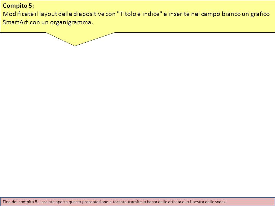 Compito 5: Modificate il layout delle diapositive con Titolo e indice e inserite nel campo bianco un grafico SmartArt con un organigramma.