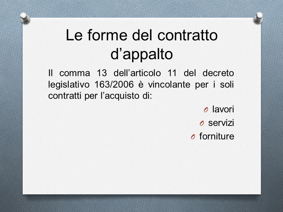 Le forme del contratto dappalto Il comma 13 dellarticolo 11 del decreto legislativo 163/2006 è vincolante per i soli contratti per lacquisto di: O lav