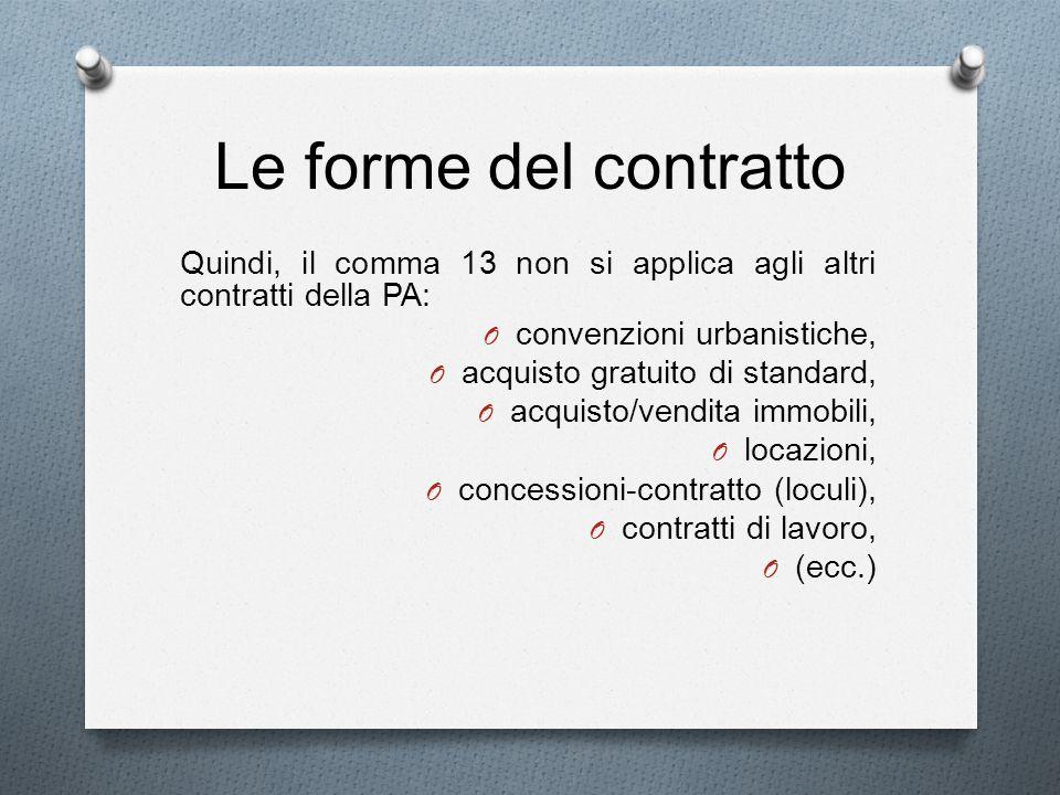 Le forme del contratto Quindi, il comma 13 non si applica agli altri contratti della PA: O convenzioni urbanistiche, O acquisto gratuito di standard,