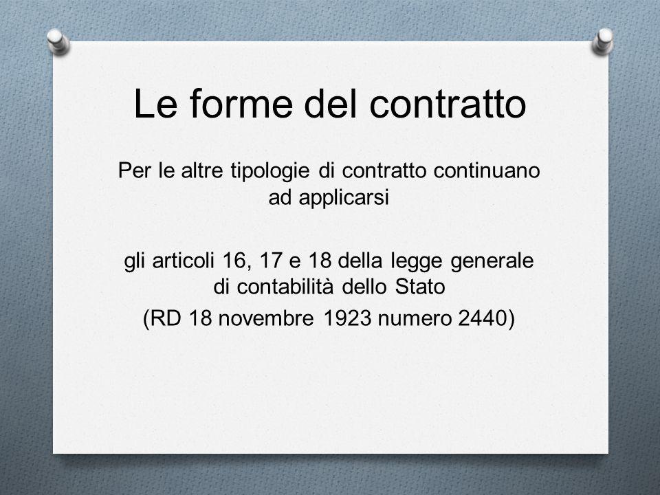Le forme del contratto Per le altre tipologie di contratto continuano ad applicarsi gli articoli 16, 17 e 18 della legge generale di contabilità dello