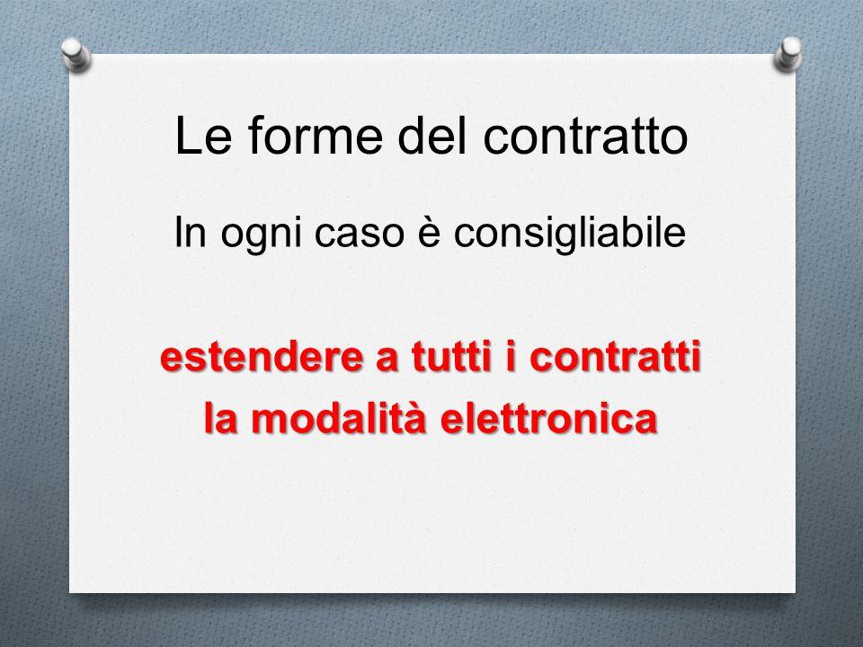 Le forme del contratto In ogni caso è consigliabile estendere a tutti i contratti la modalità elettronica