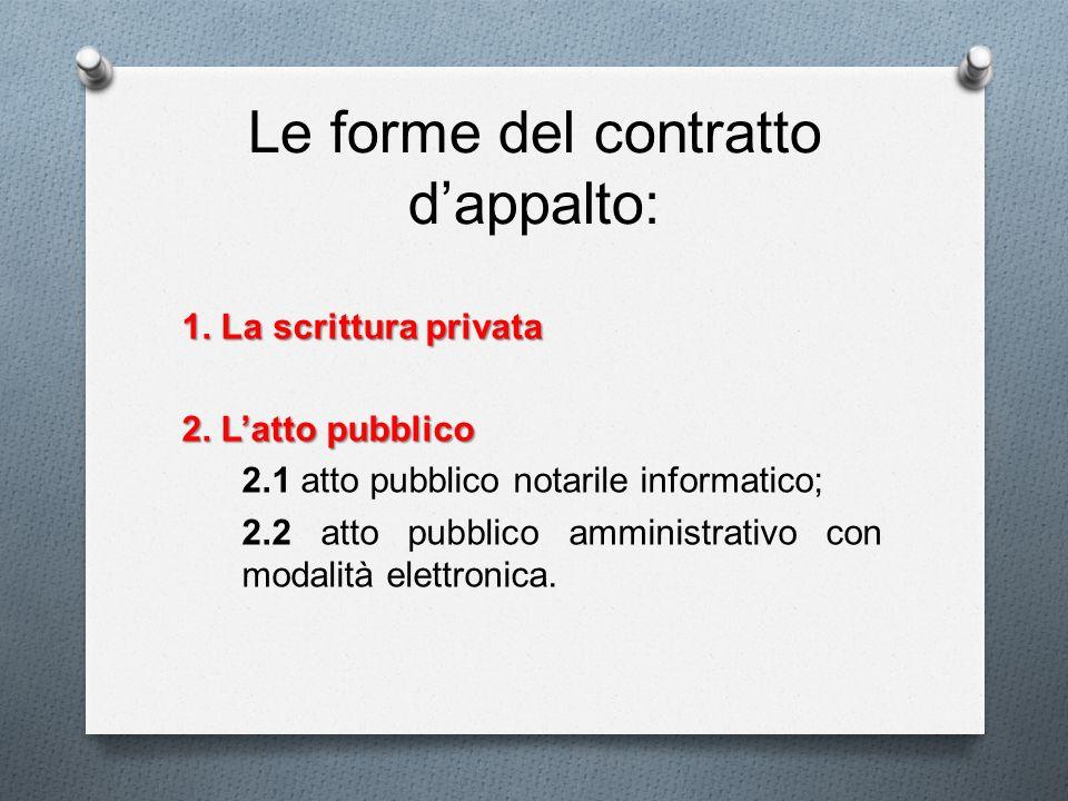 Le forme del contratto dappalto: 1. La scrittura privata 2. Latto pubblico 2.1 atto pubblico notarile informatico; 2.2 atto pubblico amministrativo co