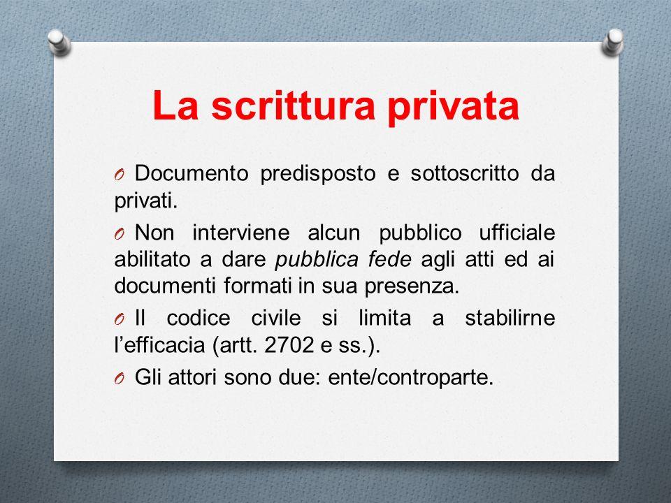 La scrittura privata O Documento predisposto e sottoscritto da privati. O Non interviene alcun pubblico ufficiale abilitato a dare pubblica fede agli