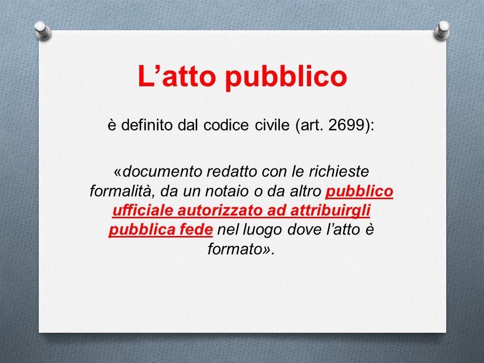 Latto pubblico è definito dal codice civile (art. 2699): «documento redatto con le richieste formalità, da un notaio o da altro pubblico ufficiale aut