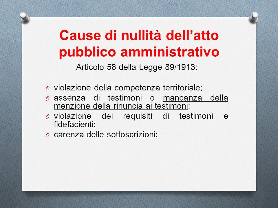 Cause di nullità dellatto pubblico amministrativo Articolo 58 della Legge 89/1913: O violazione della competenza territoriale; O assenza di testimoni