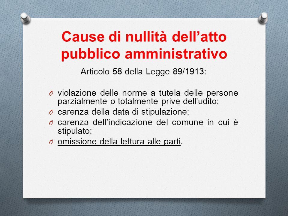 Cause di nullità dellatto pubblico amministrativo Articolo 58 della Legge 89/1913: O violazione delle norme a tutela delle persone parzialmente o tota