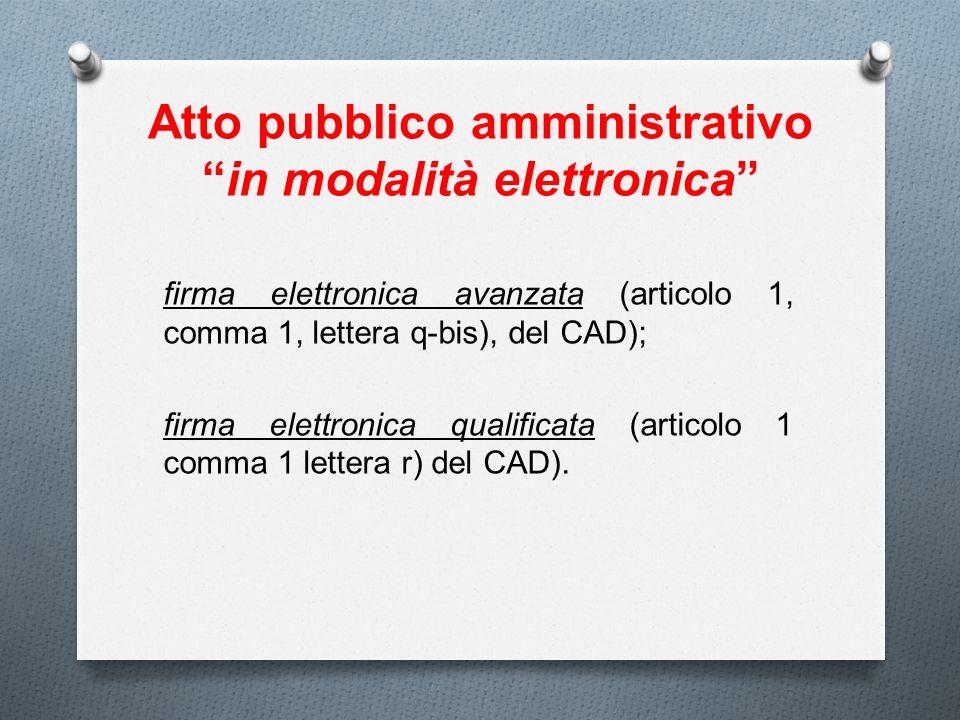 Atto pubblico amministrativoin modalità elettronica firma elettronica avanzata (articolo 1, comma 1, lettera q-bis), del CAD); firma elettronica quali