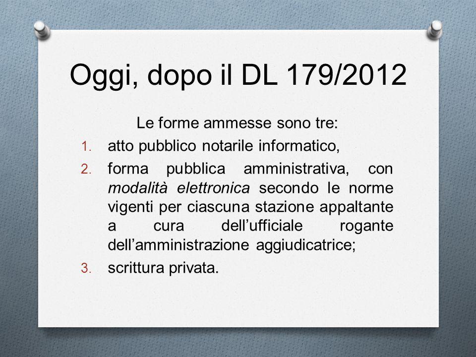 Oggi, dopo il DL 179/2012 Le forme ammesse sono tre: 1. atto pubblico notarile informatico, 2. forma pubblica amministrativa, con modalità elettronica