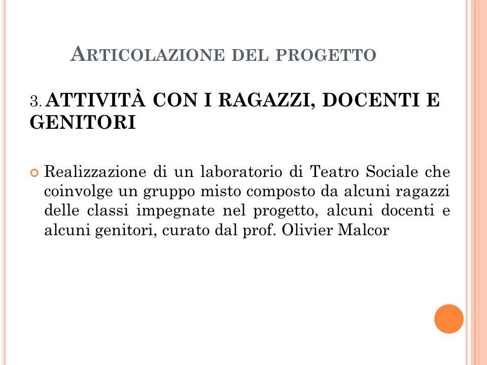 A RTICOLAZIONE DEL PROGETTO 3.