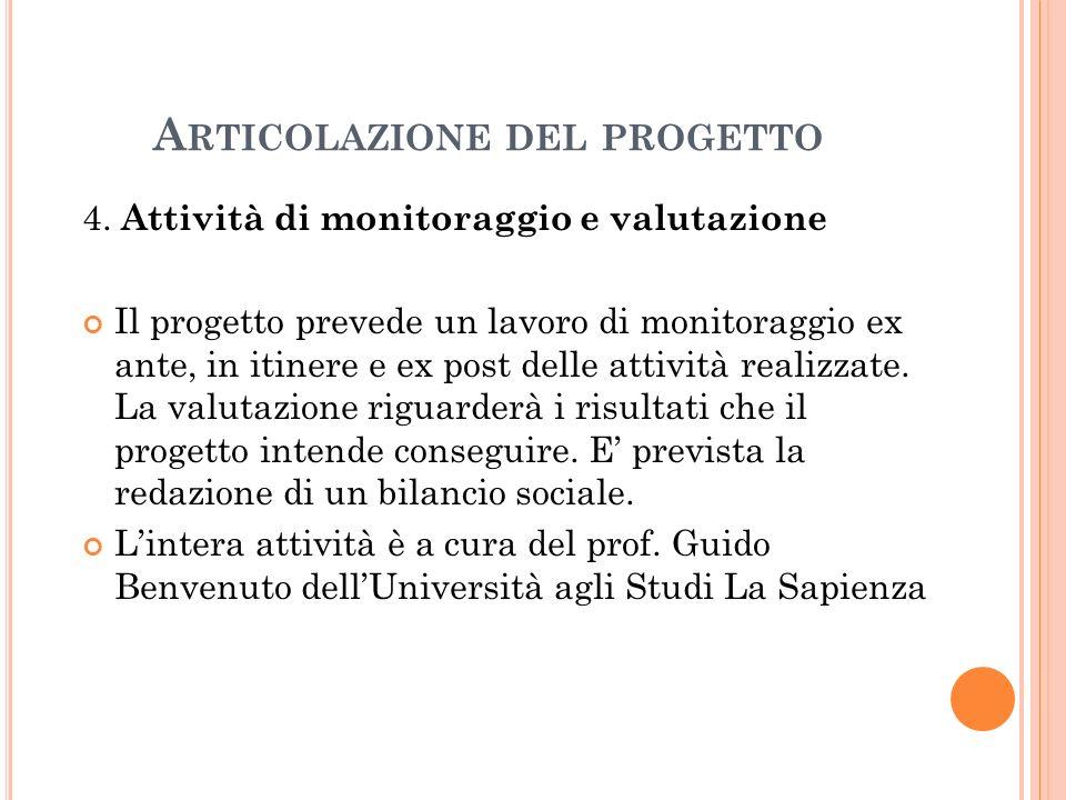 A RTICOLAZIONE DEL PROGETTO 4.