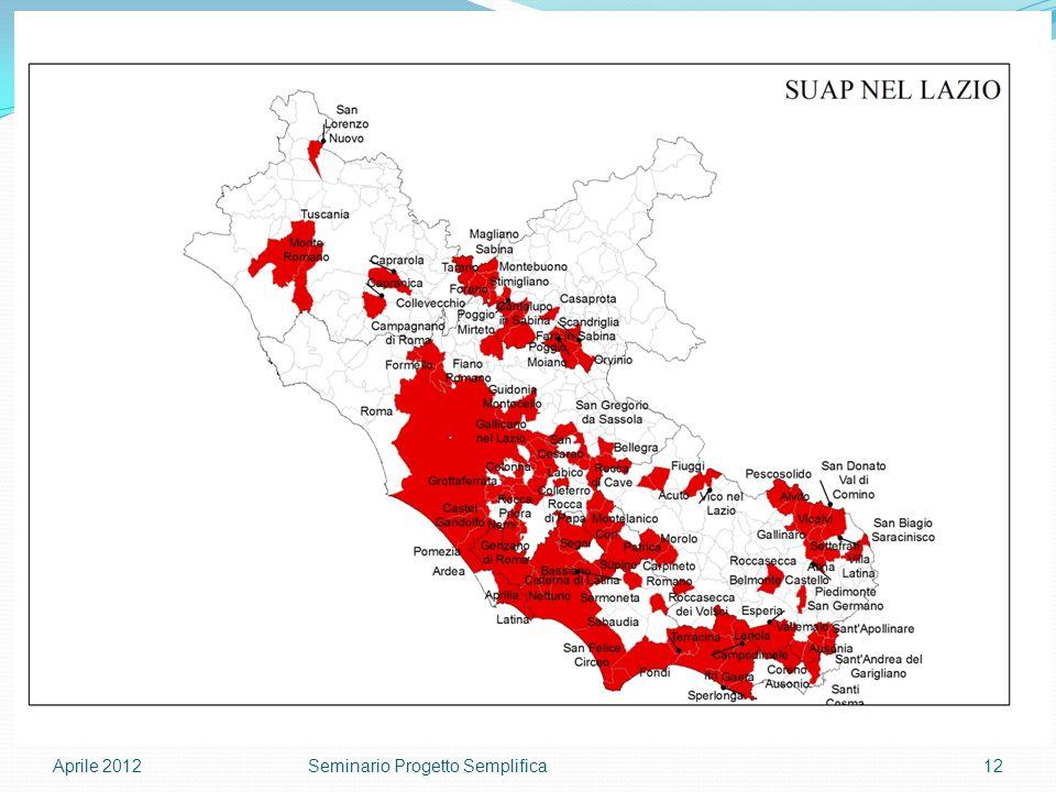 Aprile 201212Seminario Progetto Semplifica