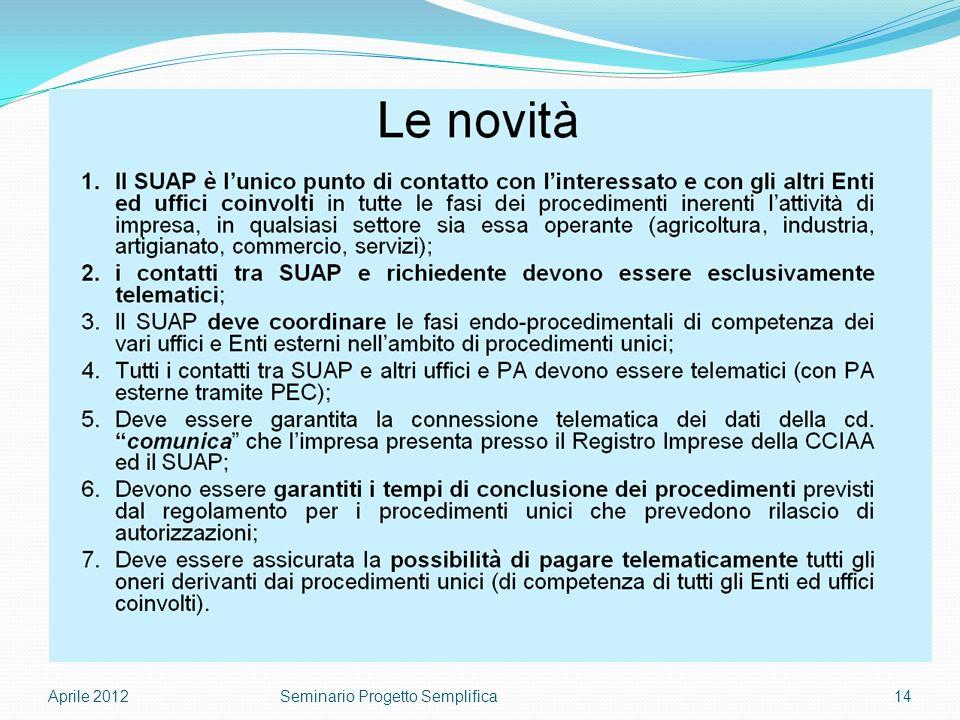 Aprile 201214Seminario Progetto Semplifica