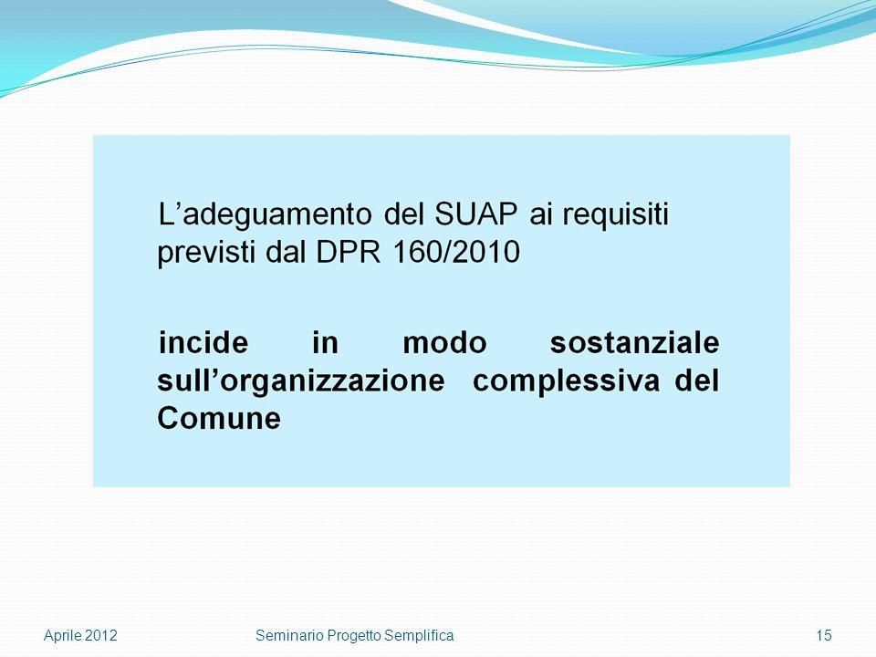 Aprile 201215Seminario Progetto Semplifica