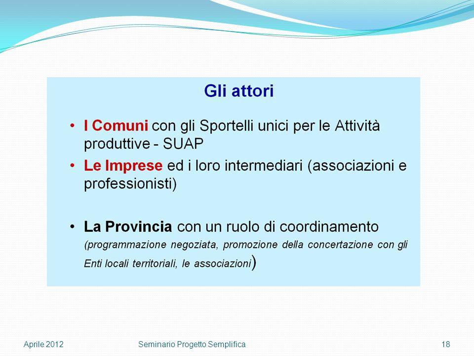 Aprile 201218Seminario Progetto Semplifica