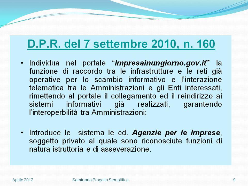 Aprile 20129Seminario Progetto Semplifica