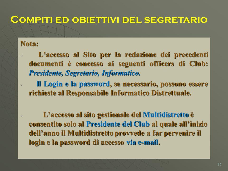 Nota: Laccesso al Sito per la redazione dei precedenti documenti è concesso ai seguenti officers di Club: Presidente, Segretario, Informatico.