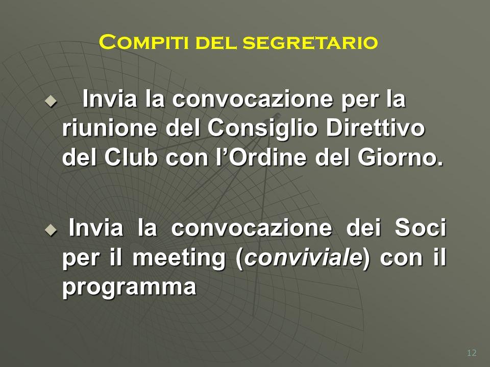 Invia la convocazione per la riunione del Consiglio Direttivo del Club con lOrdine del Giorno. Invia la convocazione per la riunione del Consiglio Dir