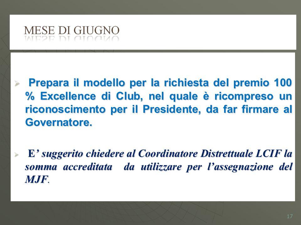Prepara il modello per la richiesta del premio 100 % Excellence di Club, nel quale è ricompreso un riconoscimento per il Presidente, da far firmare al