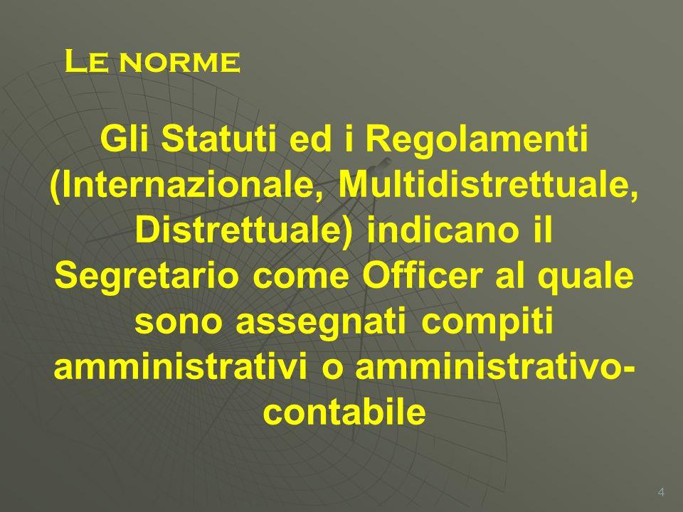 4 Gli Statuti ed i Regolamenti (Internazionale, Multidistrettuale, Distrettuale) indicano il Segretario come Officer al quale sono assegnati compiti amministrativi o amministrativo- contabile Le norme