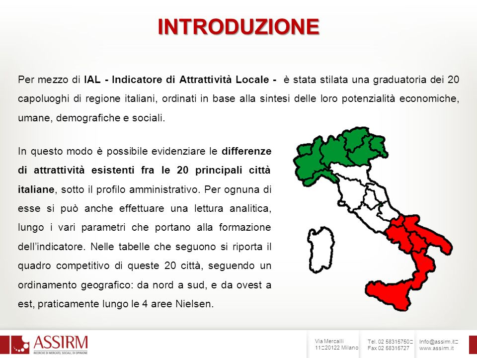 Via Mercalli 11 20122 Milano Tel. 02 58315750 Fax 02 58315727 Info@assirm.it www.assirm.it INTRODUZIONE Per mezzo di IAL - Indicatore di Attrattività