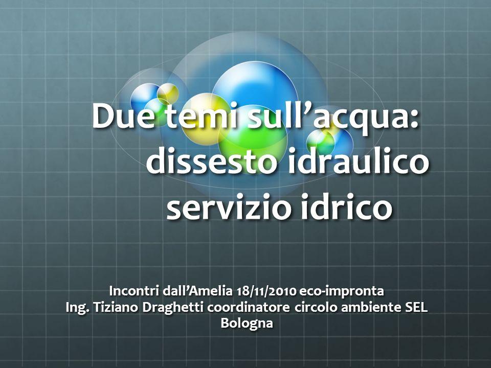 Due temi sullacqua: dissesto idraulico servizio idrico Incontri dallAmelia 18/11/2010 eco-impronta Ing.