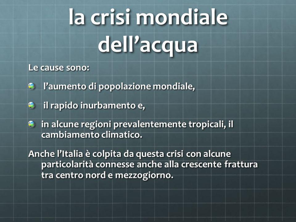 la crisi mondiale dellacqua Le cause sono: laumento di popolazione mondiale, laumento di popolazione mondiale, il rapido inurbamento e, il rapido inurbamento e, in alcune regioni prevalentemente tropicali, il cambiamento climatico.