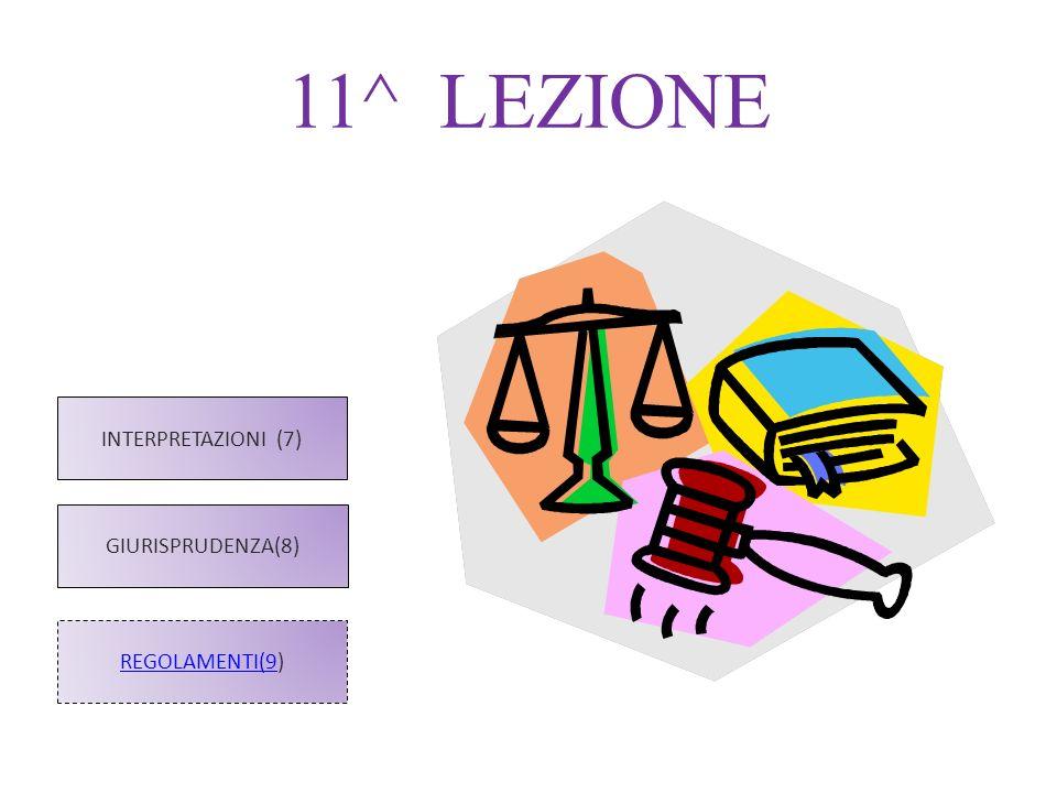 11^ LEZIONE REGOLAMENTI(9) INTERPRETAZIONI (7) GIURISPRUDENZA(8)