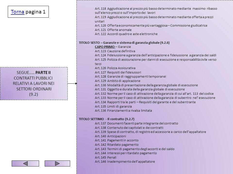 SEGUE..… PARTE II CONTRATTI PUBBLICI RELATIVI A LAVORI NEI SETTORI ORDINARI (9.2) Art. 118 Aggiudicazione al prezzo più basso determinato mediante mas