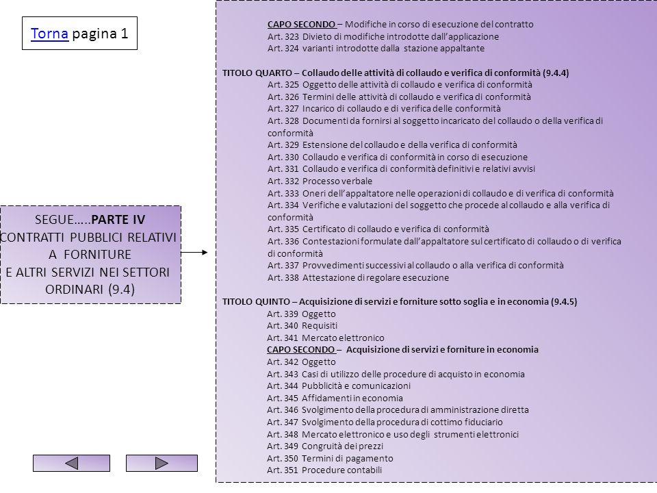 SEGUE…..PARTE IV CONTRATTI PUBBLICI RELATIVI A FORNITURE E ALTRI SERVIZI NEI SETTORI ORDINARI (9.4) CAPO SECONDO – Modifiche in corso di esecuzione de