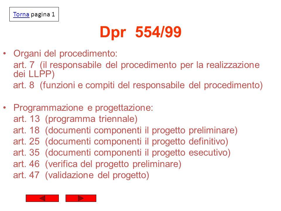 Dpr 554/99 Organi del procedimento: art. 7 (il responsabile del procedimento per la realizzazione dei LLPP) art. 8 (funzioni e compiti del responsabil