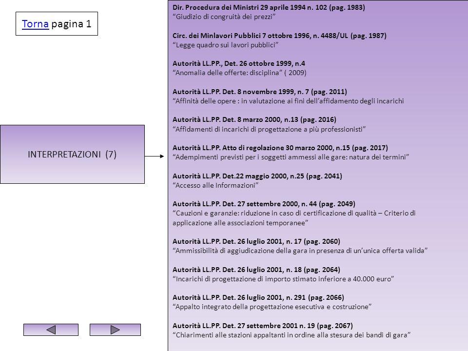 INTERPRETAZIONI (7) Dir. Procedura dei Ministri 29 aprile 1994 n. 102 (pag. 1983) Giudizio di congruità dei prezzi Circ. dei Minlavori Pubblici 7 otto