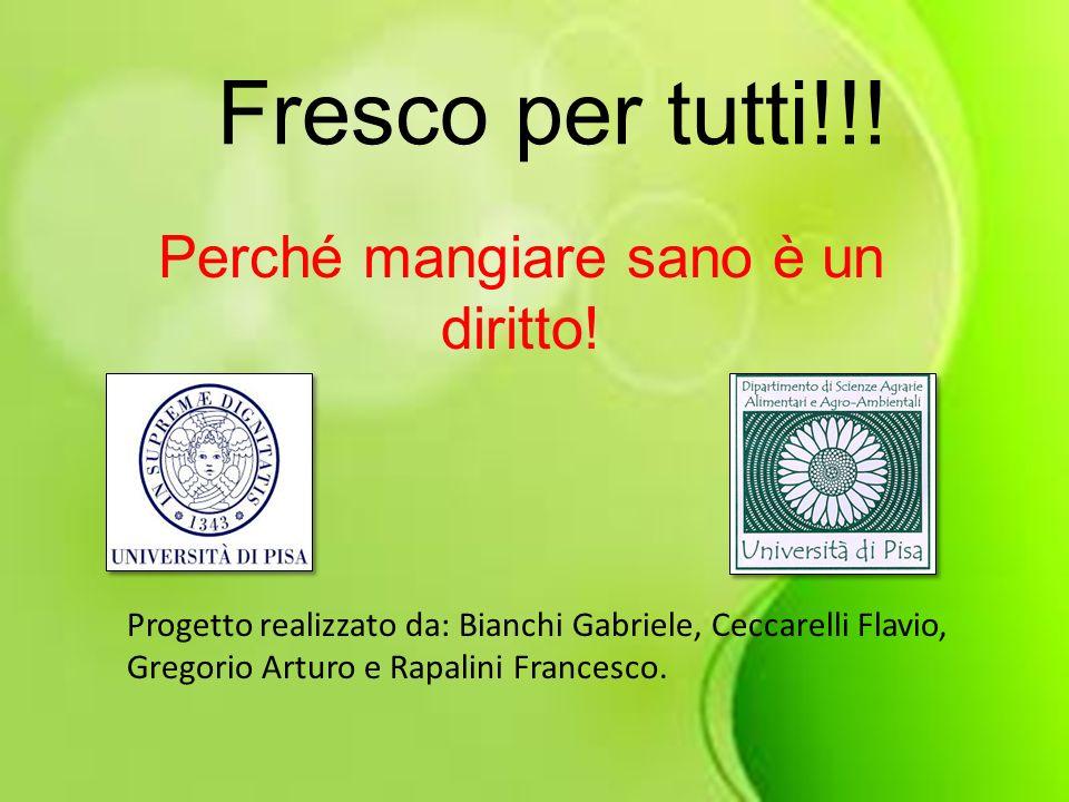 Fresco per tutti!!! Perché mangiare sano è un diritto! Progetto realizzato da: Bianchi Gabriele, Ceccarelli Flavio, Gregorio Arturo e Rapalini Frances