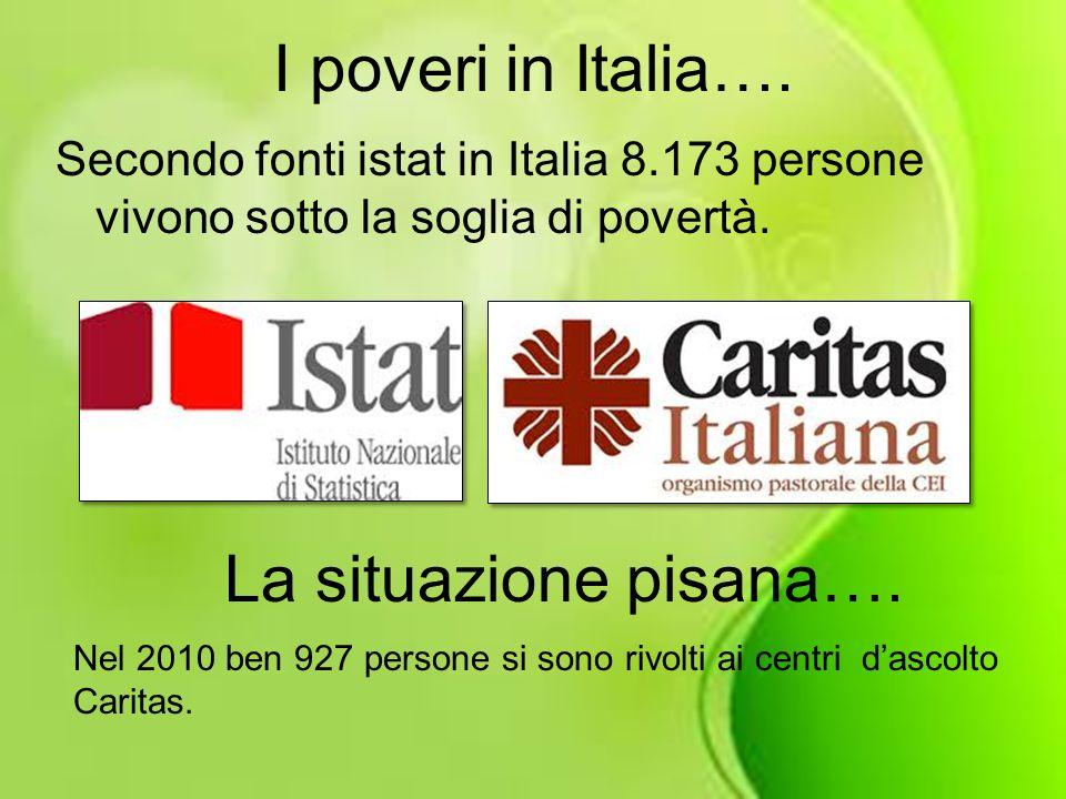 I poveri in Italia…. Secondo fonti istat in Italia 8.173 persone vivono sotto la soglia di povertà. La situazione pisana…. Nel 2010 ben 927 persone si