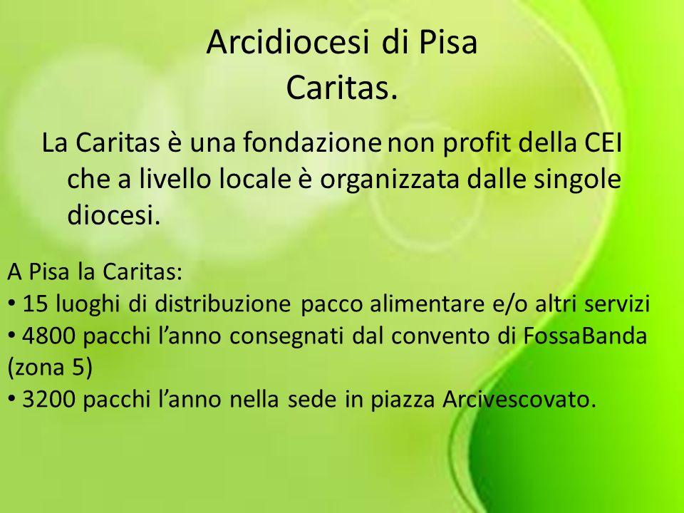 Arcidiocesi di Pisa Caritas. La Caritas è una fondazione non profit della CEI che a livello locale è organizzata dalle singole diocesi. A Pisa la Cari