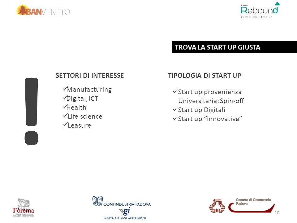 SETTORI DI INTERESSETIPOLOGIA DI START UP Start up provenienza Universitaria: Spin-off Start up Digitali Start up innovative ! Manufacturing Digital,