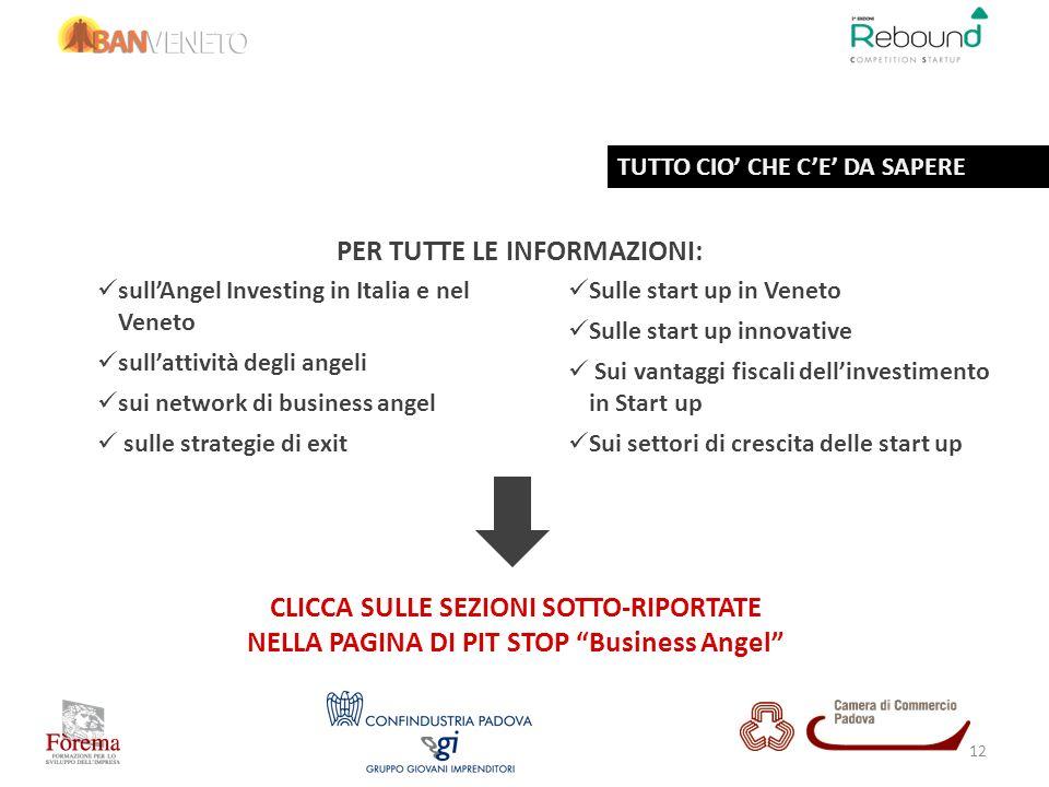 PER TUTTE LE INFORMAZIONI: sullAngel Investing in Italia e nel Veneto sullattività degli angeli sui network di business angel sulle strategie di exit