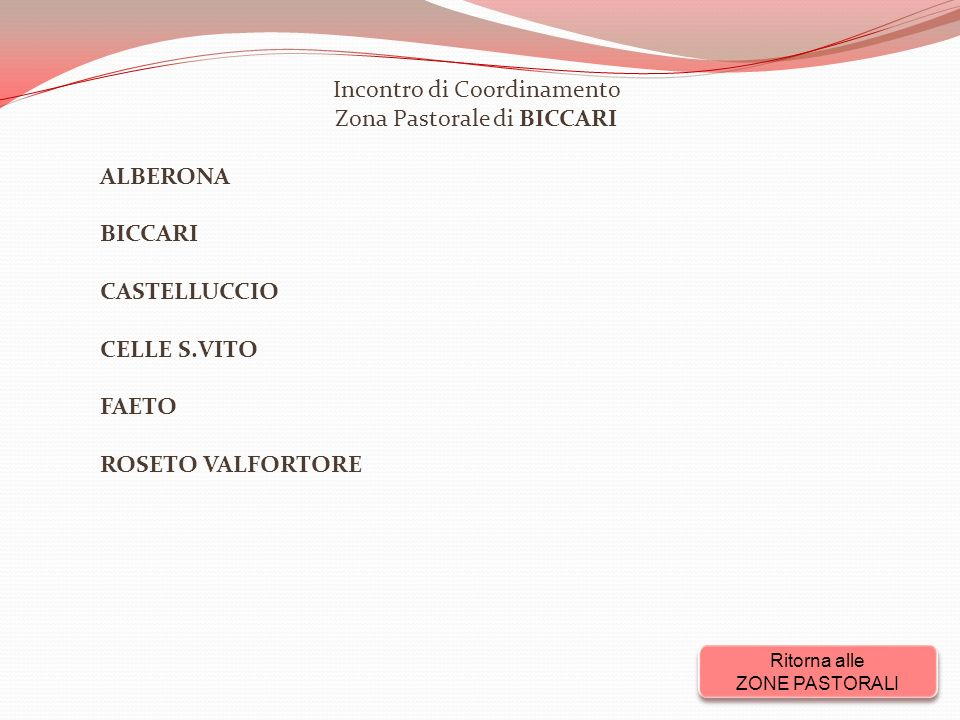 Incontro di Coordinamento Zona Pastorale di BICCARI ALBERONA BICCARI CASTELLUCCIO CELLE S.VITO FAETO ROSETO VALFORTORE Ritorna alle ZONE PASTORALI Ritorna alle ZONE PASTORALI