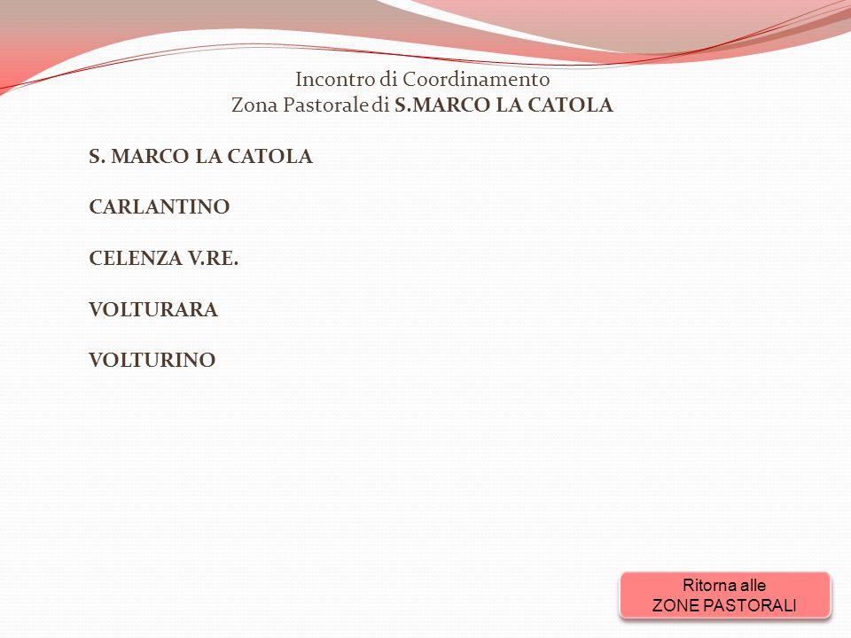 Incontro di Coordinamento Zona Pastorale di S.MARCO LA CATOLA S.