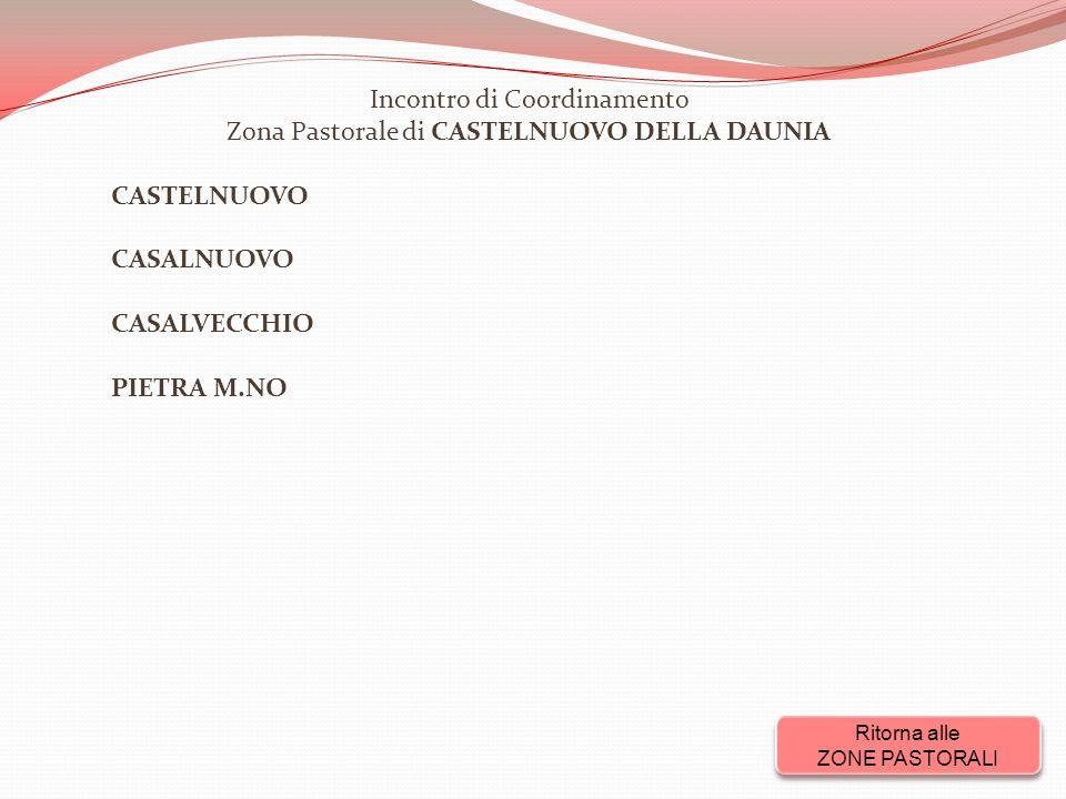 Incontro di Coordinamento Zona Pastorale di CASTELNUOVO DELLA DAUNIA CASTELNUOVO CASALNUOVO CASALVECCHIO PIETRA M.NO Ritorna alle ZONE PASTORALI Ritorna alle ZONE PASTORALI
