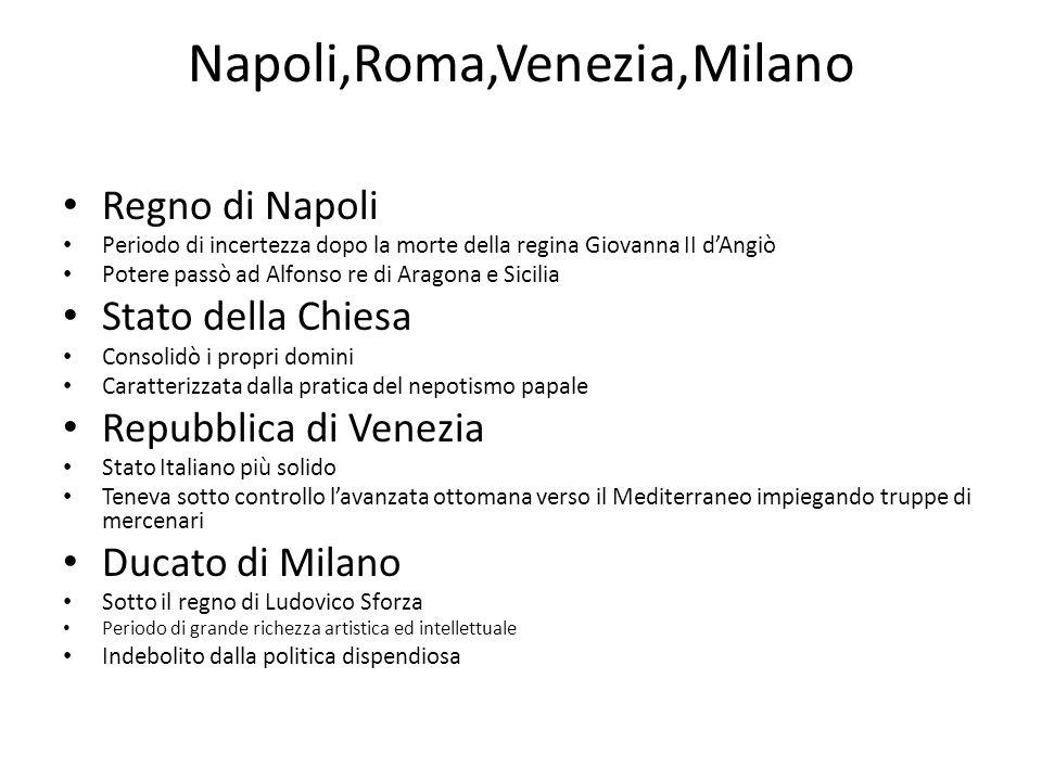 Napoli,Roma,Venezia,Milano Regno di Napoli Periodo di incertezza dopo la morte della regina Giovanna II dAngiò Potere passò ad Alfonso re di Aragona e
