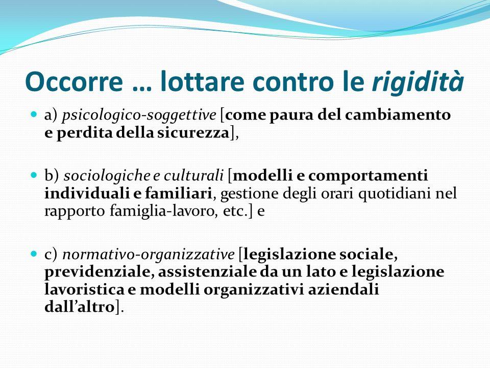 Occorre … lottare contro le rigidità a) psicologico-soggettive [come paura del cambiamento e perdita della sicurezza], b) sociologiche e culturali [mo