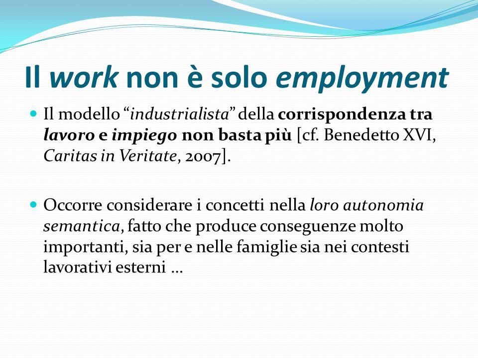 Il work non è solo employment Il modello industrialista della corrispondenza tra lavoro e impiego non basta più [cf. Benedetto XVI, Caritas in Veritat