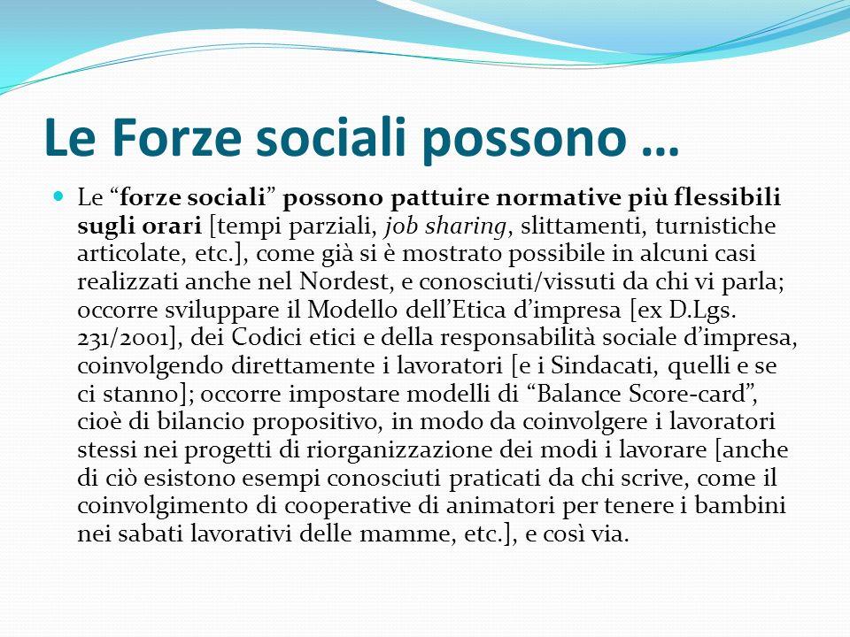 Le Forze sociali possono … Le forze sociali possono pattuire normative più flessibili sugli orari [tempi parziali, job sharing, slittamenti, turnistic