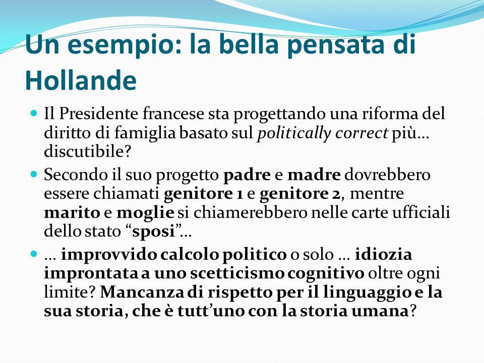 Un esempio: la bella pensata di Hollande Il Presidente francese sta progettando una riforma del diritto di famiglia basato sul politically correct più