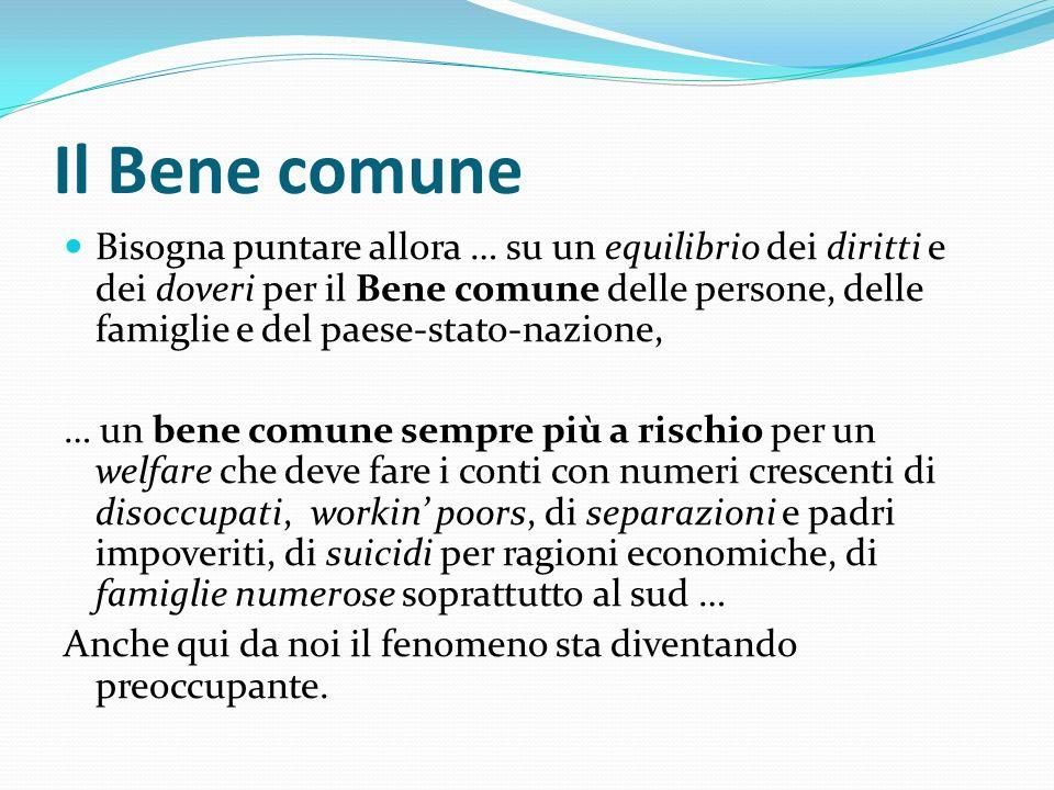 Il Bene comune Bisogna puntare allora … su un equilibrio dei diritti e dei doveri per il Bene comune delle persone, delle famiglie e del paese-stato-n