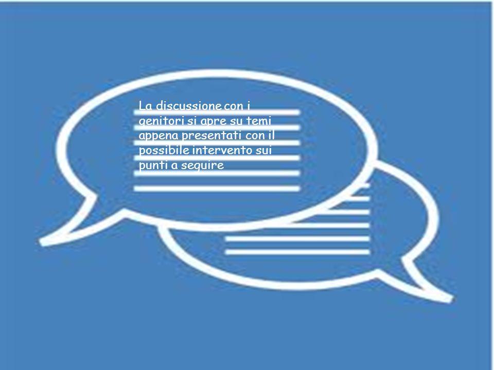 discussione La discussione con i genitori si apre su temi appena presentati con il possibile intervento sui punti a seguire